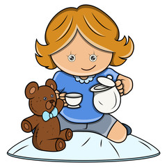 Little Girl Playing House Game - Vector Cartoon Illustration