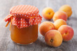 Apricot jam and fresh fruits