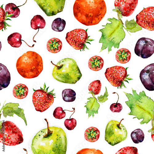 Tapeta ścienna na wymiar strawberry fruit seamless texture in watercolor