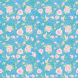 Rose seamless pattern on blue