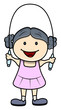 Little Girl Skipping a Rope - Vector Cartoon Illustration