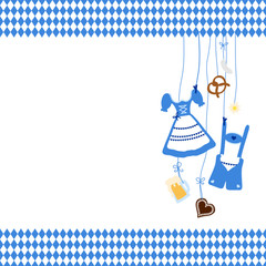 Octoberfest Symbols & Pattern Blue