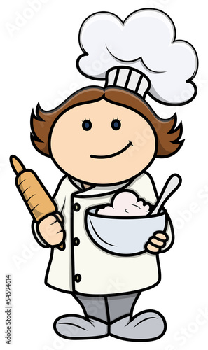 Cute Cartoon Little Girl in Chef Costume - Vector Cartoon