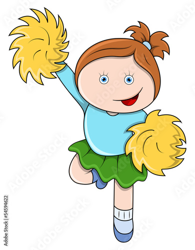 Little Girl Jumping as a Cheer Leader - Vector Cartoon