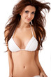 Charming sexy busty brunette in a bikini