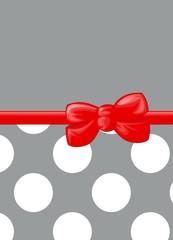 Polka Dots - Ribbon and Bow - Gray, White, Red