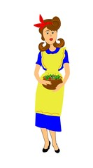 fifties mom holding a large bowl of salad