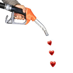 Male hand holding gas pump and red heart drop