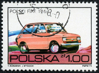 stamp is printed in Poland shows a Fiat