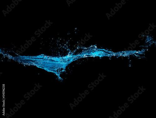 Blue Water Splash Isolated on Black Background - 54596238