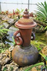 Earthenware in garden