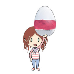 Girl holding an easter egg with cute designs.