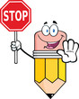 Pencil Cartoon Mascot Character Holding A Stop Sign
