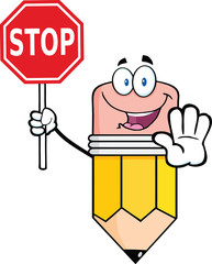 Pencil Cartoon Mascot Character Holding A Stop Sign