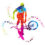Fototapety bmx with colored dots