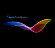 Shiny color waves over dark vector backgrounds