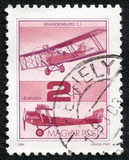 stamp printed in Hungary shows Old Airplane