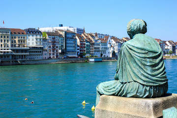 Helvetia statue on the Rhine in Basel, Switzerland