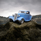 hot rod in overcastted natural environment 3d illustration
