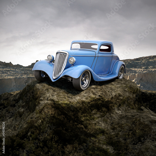 Nowoczesny obraz na płótnie hot rod in overcastted natural environment 3d illustration