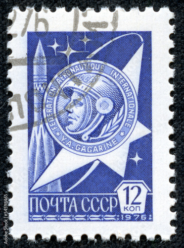 stamp printed by USSR shows the first astronaut Jury Gagarin