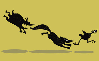 Funny running chicken, fox and dog