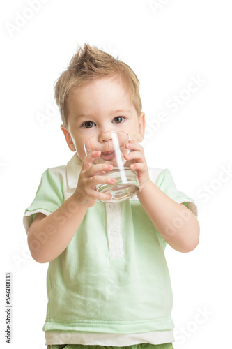 Baby drinking water from glass