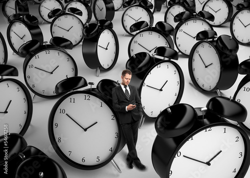 businessman and many clock