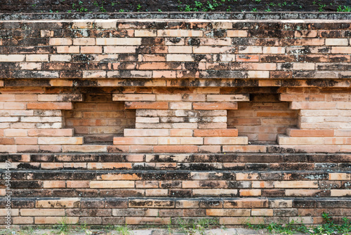 Pattern of Ancient Stain Brick Wall