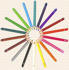 crayons de couleur sur fond de papier à croquis