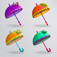 Set of colorful umbrellas.