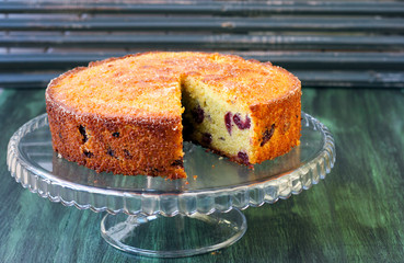 Cornmeal, almond cherry cake