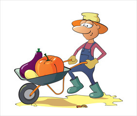 A man carries vegetables in a wheelbarrow