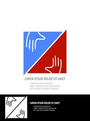 Helping hands vector featuring the flat design trend