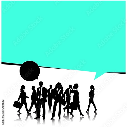 Business people team with speech bubble-vector illustration