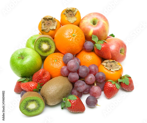 still life of fresh fruit on a white background
