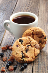 Sweet cookies and cup of coffee