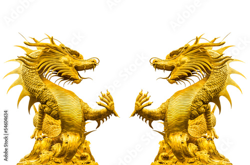 Double golden dragon statue