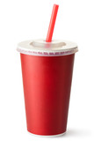 Fototapety Red cardboard cup with a straw