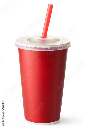 Red cardboard cup with a straw - 54605071