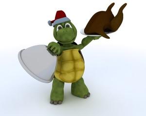 tortoise with christmas turkey