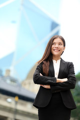 Asian business woman confident outdoor, Hong Kong