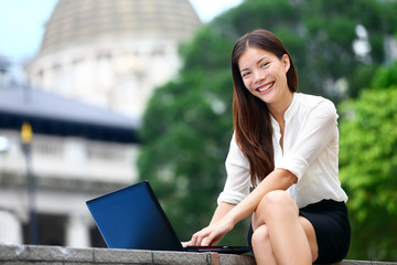 Business people - laptop woman in Hong Kong