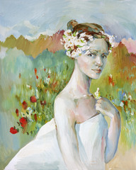 Young woman in the image of spring oil illustration