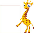 Giraffe cartoon with blank sign