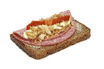 Danish Smørrebrød with salami