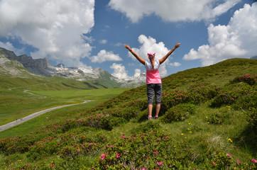 Traveler on the hill. Melchsee-Frutt, Switzerland