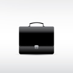Black leather briefcase. Vector EPS10