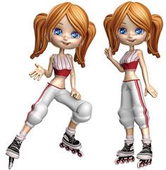 Cartoon-Mädchen auf Inline-Skates 1