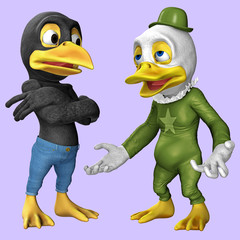 Cartoon-Figuren / Krähe und Ente 1